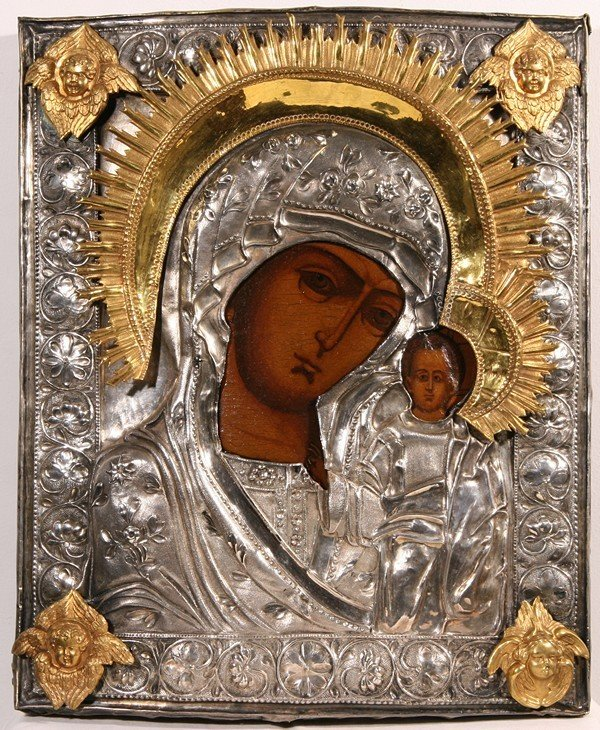 ANTIQUE RUSSIAN SILVER GILDED ICON WITH ANGEL MEDALLION