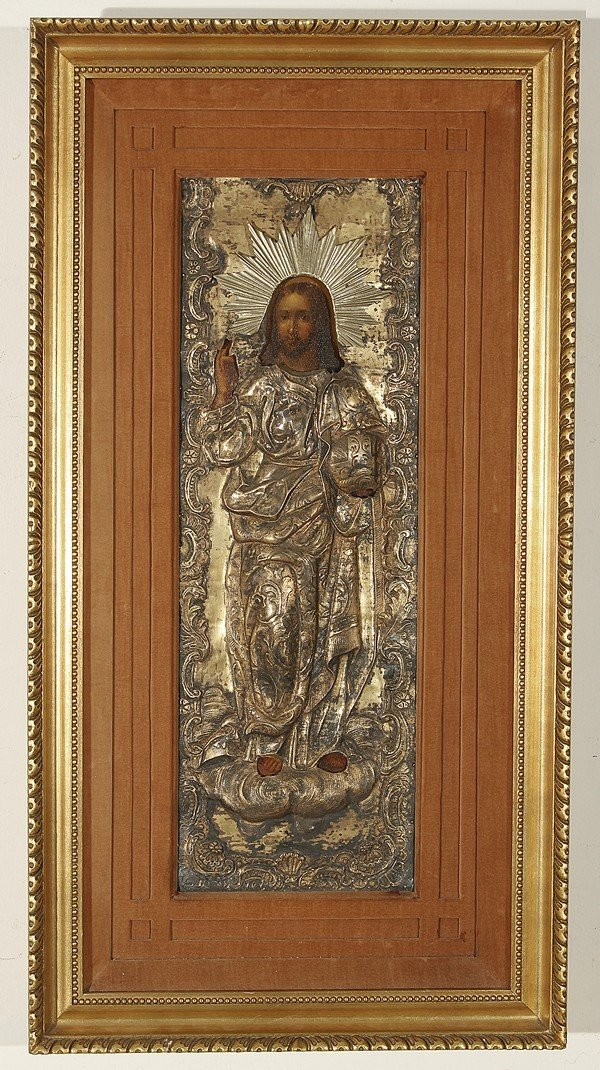 ANTIQUE RUSSIAN ICON OF CHRIST, 1849
