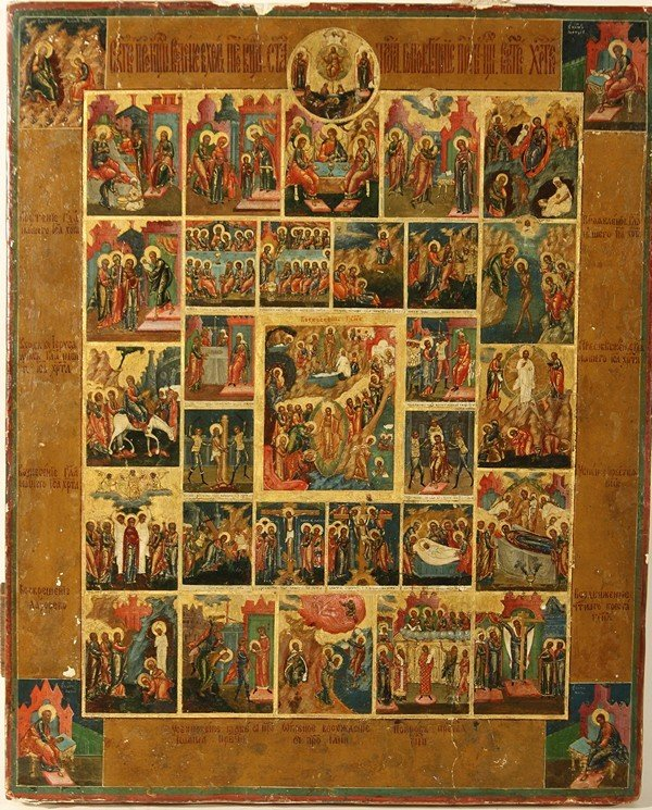 ANTIQUE RUSSIAN ICON SCENES FROM LIFE OF CHRIST