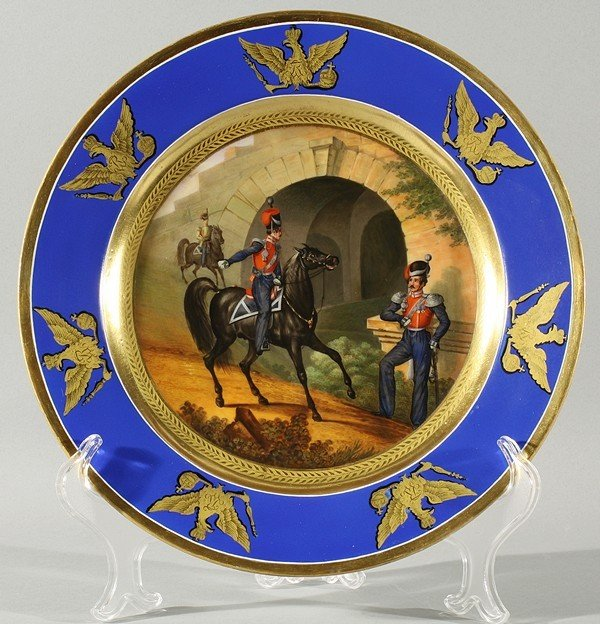 RUSSIAN IMPERIAL PORCELAIN MILITARY PLATE