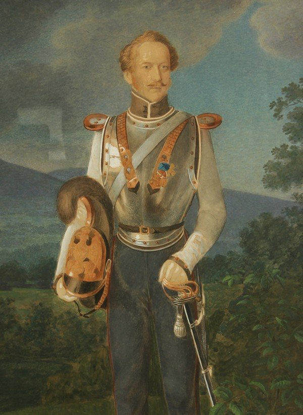 18: ANTIQUE EUROPEAN 19THC PAINTING MILITARY OFFICER