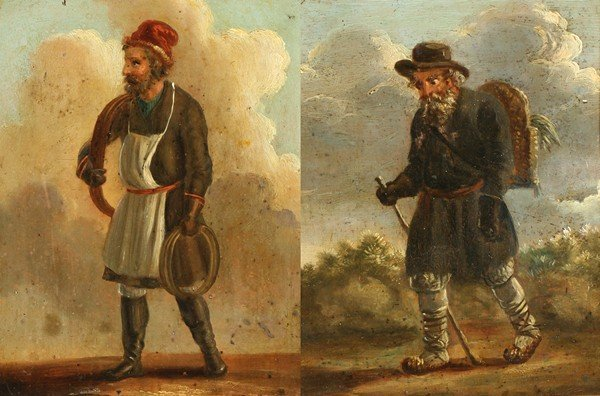 19: PAIR OF RUSSIAN PAINTINGS 19THC AFTER ORLOVSKY