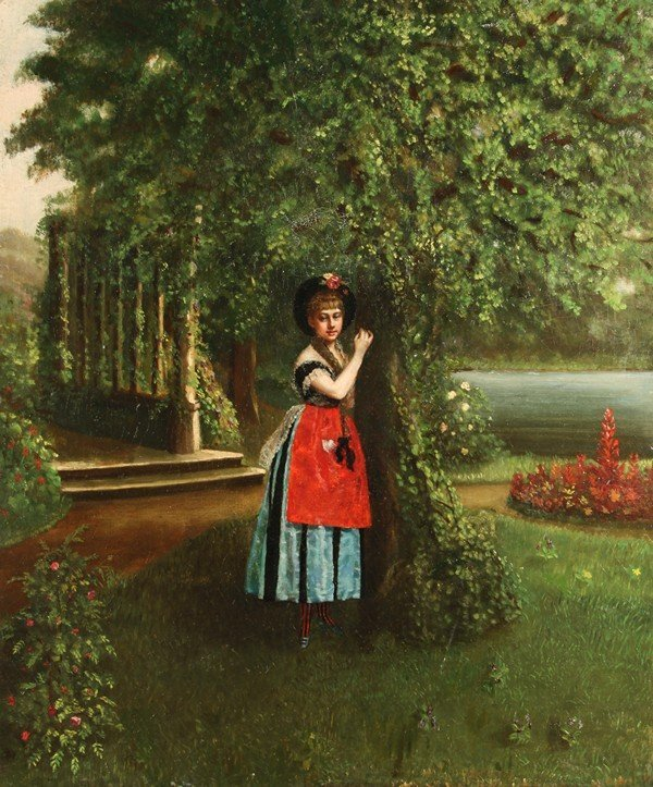 28: ANTIQUE AMERICAN PAINTING YOUNG WOMAN IN PARK