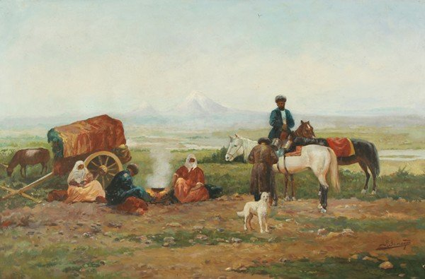 37: ZOMMER ANTIQUE RUSSIAN PAINTING BEDOUINS
