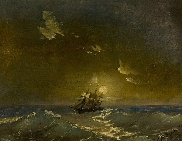 42: AIVAZOVSKY ANTIQUE RUSSIAN PAINTING SEASCAPE