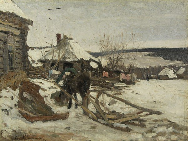46A: ISAAC LEVITAN RUSSIAN PAINTING WINTER