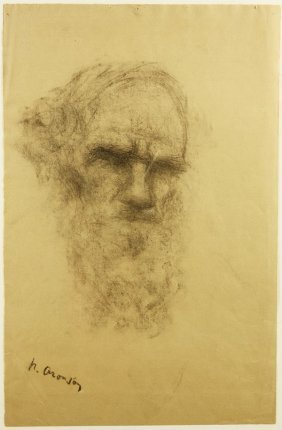 ARONSON ANTIQUE RUSSIAN DRAWING TOLSTOY