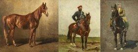 3 RUSSIAN PAINTING RUDOLF FRENTZ HORSES