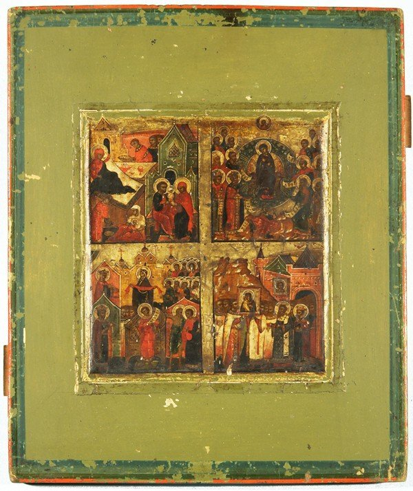 306: RUSSIAN ICON WITH IMAGES OF MOTHER MARY
