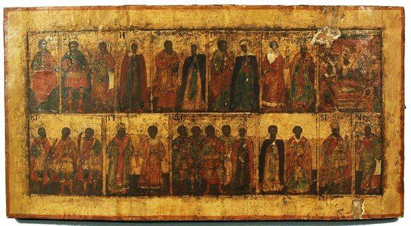 310: RUSSIAN CALENDAR ICON WITH SAINTS
