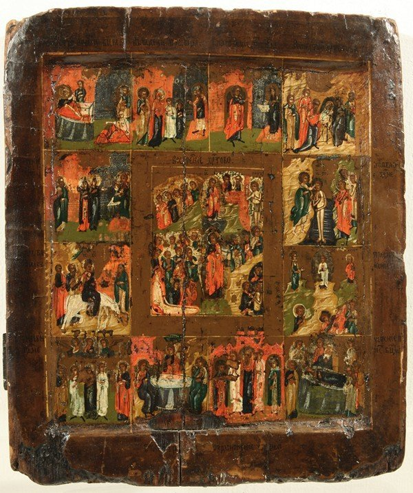312: RUSSIAN ICON WITH SCENES FROM LIFE OF CHRIST