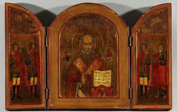 316: ANTIQUE RUSSIAN TRIPTYCH ICON WITH SAINTS
