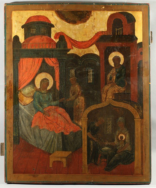 317: ANTIQUE RUSSIAN ICON OF A NATIVITY SCENE