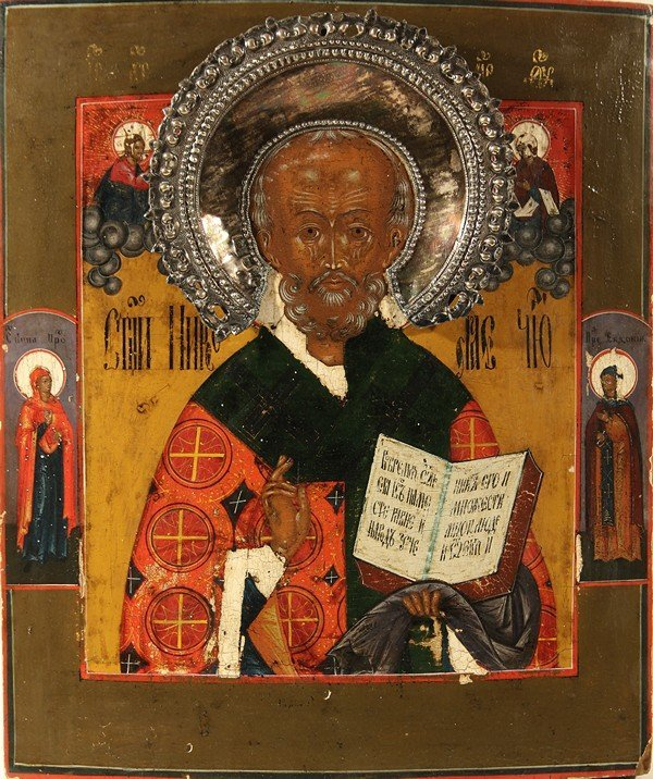 319: ANTIQUE RUSSIAN ICON OF SAINT NIKOLAI