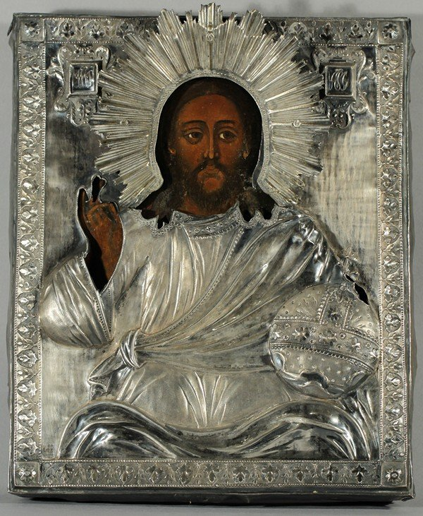 322: RUSSIAN ICON OF CHRIST PANTOCRATOR