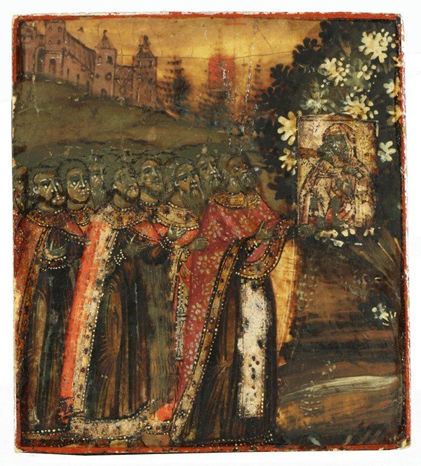 324: MINIATURE RUSSIAN ICON WITH A PROCESSION