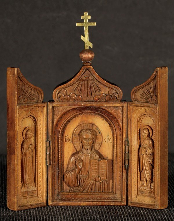 329: RUSSIAN CARVED WOOD TRAVELING TRYPTYCH ICON