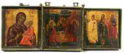330 MINIATURE ANTIQUE RUSSIAN TRIPTYCH TRAVEL ICON