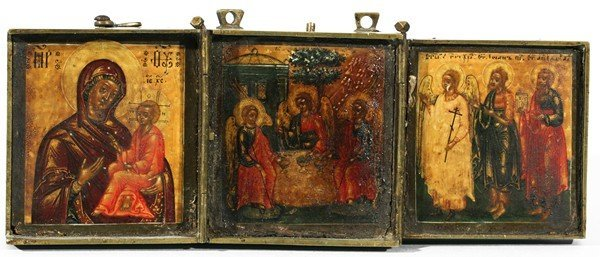 330: MINIATURE ANTIQUE RUSSIAN TRIPTYCH TRAVEL ICON