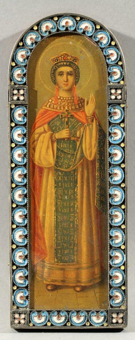 333: ANTIQUE RUSSIAN ICON OF SAINT ALEXANDRA