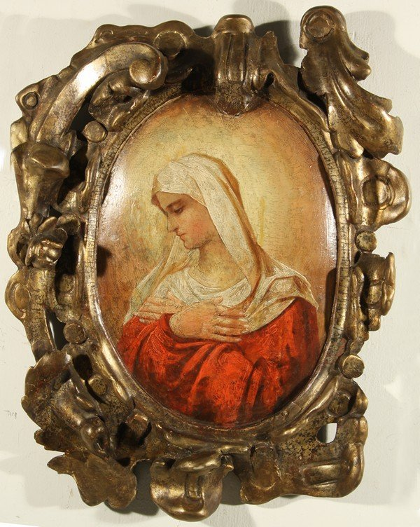 336: ANTIQUE RUSSIAN ICON OF THE VIRGIN MARY, 19TH CENT