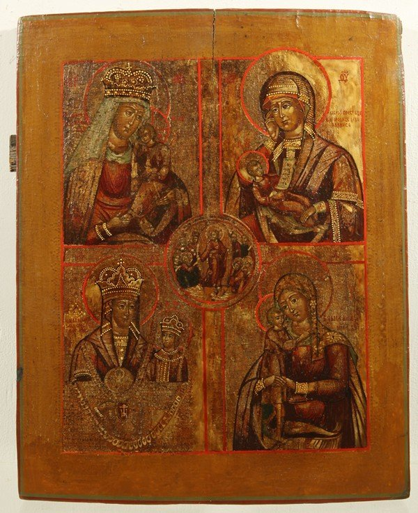 338: ANTIQUE RUSSIAN ICON OF MOTHER MARY