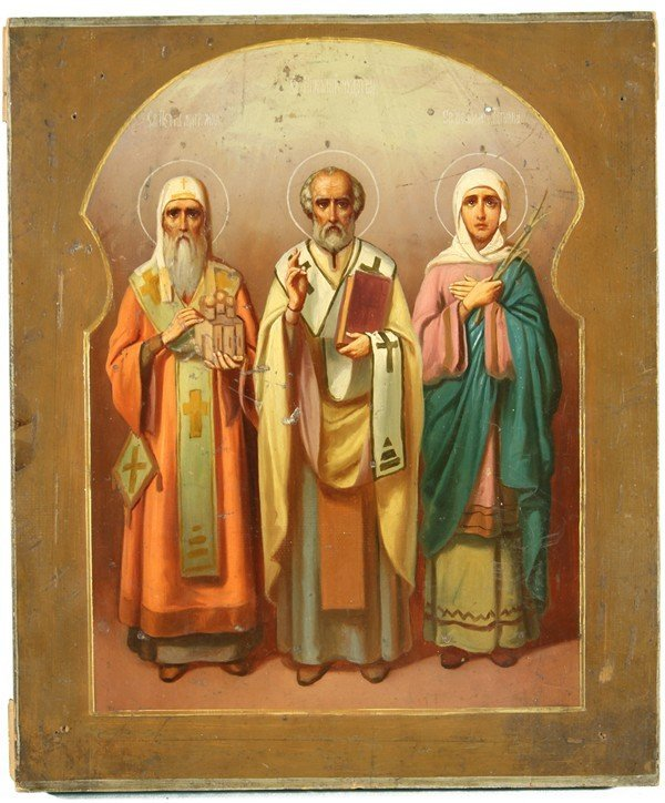 339: ANTIQUE RUSSIAN ICON OF SAINT PETER OF MOSCOW