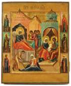 341 ANTIQUE RUSSIAN ICON OF THE NATIVITY