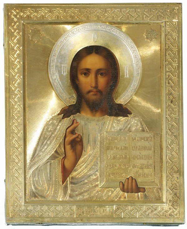 342: ANTIQUE RUSSIAN ICON OF CHRIST PANTOCRATOR