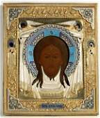 344 ANTIQUE RUSSIAN ENAMEL ICON OF CHRIST