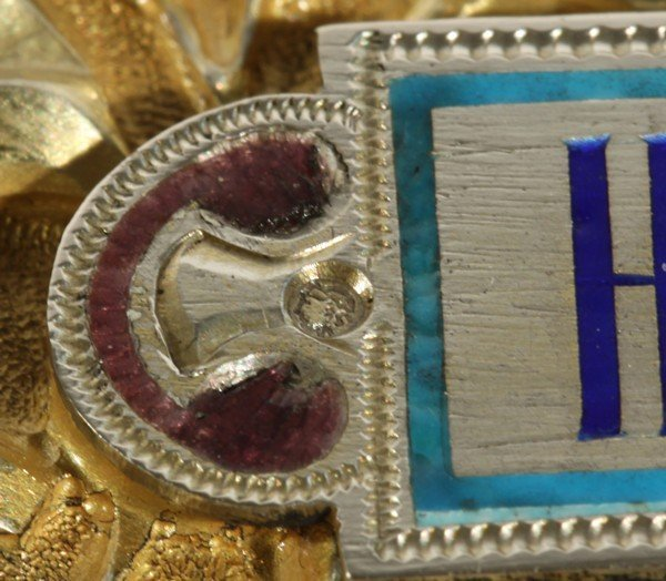 344: ANTIQUE RUSSIAN ENAMEL ICON OF CHRIST - 8