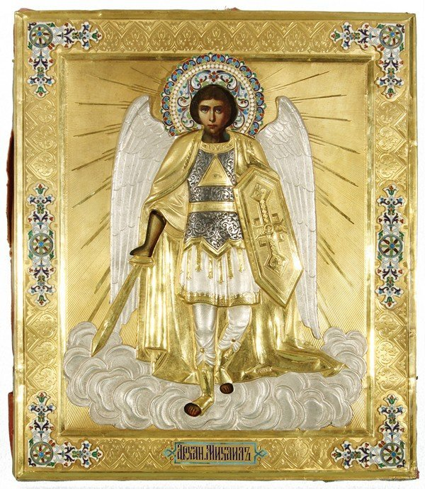 346: ANTIQUE RUSSIAN ICON OF ARCHANGEL MICHAEL