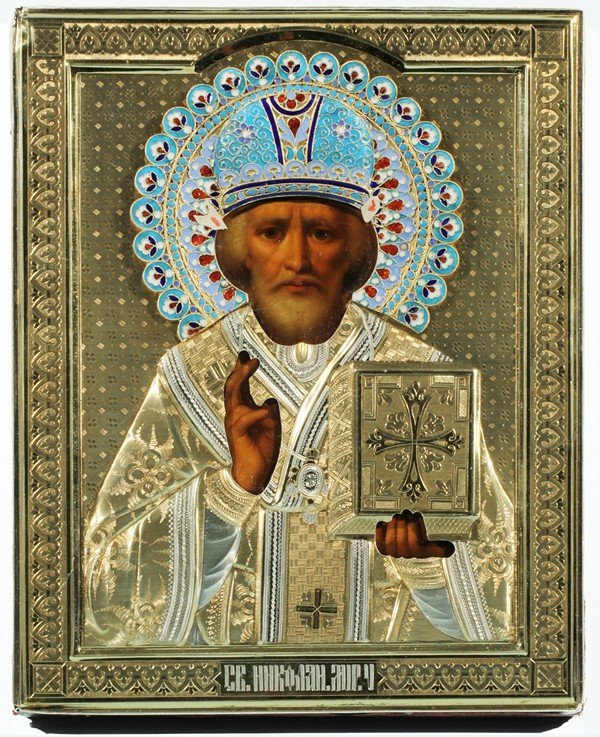 347: ANTIQUE RUSSIAN ICON OF SAINT NICHOLAI
