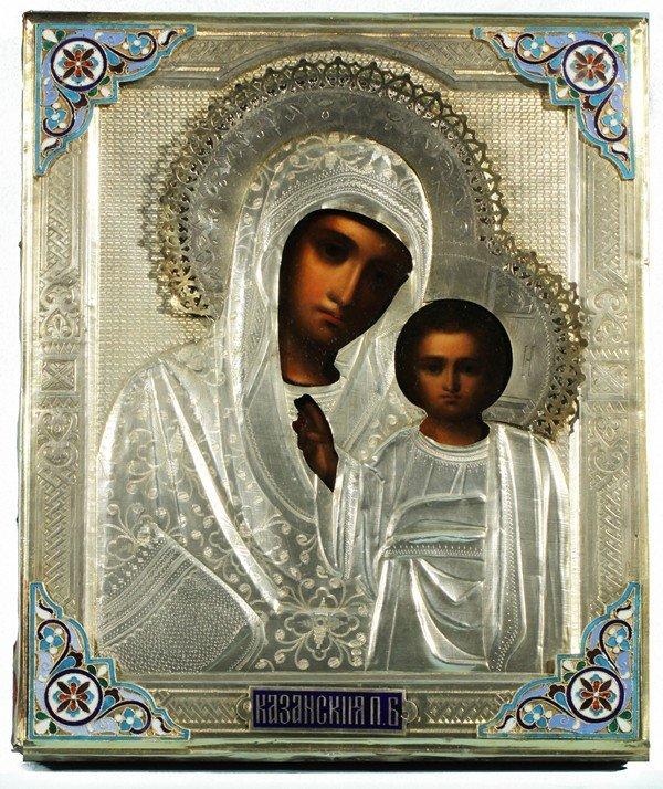 348: RUSSIAN ICON OF THE KAZANSKAYA MOTHER OF GOD