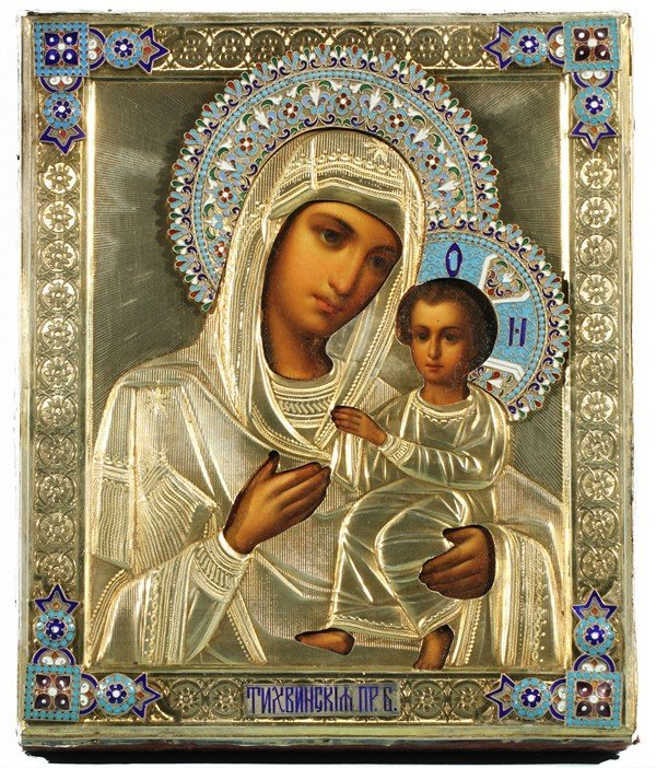 349: RUSSIAN ICON OF THE TIKVINSKAYA MOTHER OF GOD