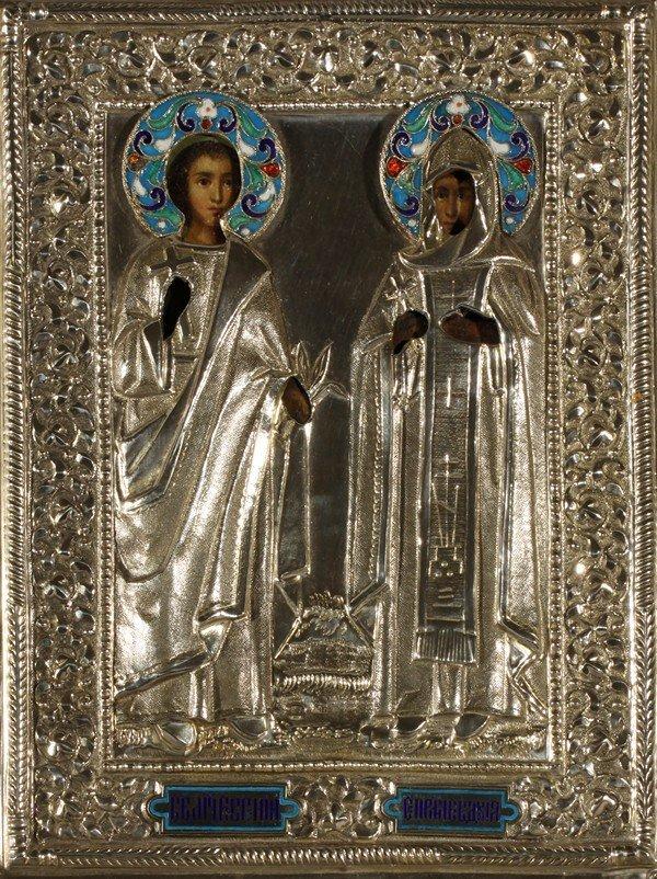 350: ANTIQUE RUSSIAN ICON OF EVGENIY AND EVDOKIA