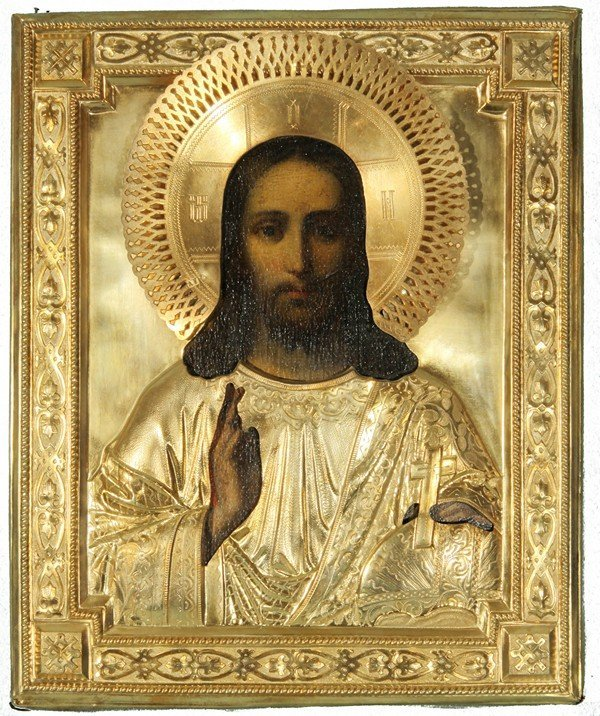351: RUSSIAN ICON OF CHRIST PANTOCRATOR