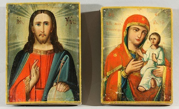 352: 2 ANTIQUE UKRAINIAN ICONS OF MARY AND CHRIST