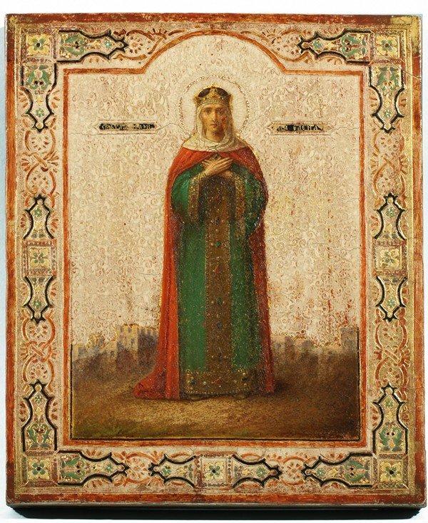 353: ANTIQUE RUSSIAN ICON OF SAINT ELENA