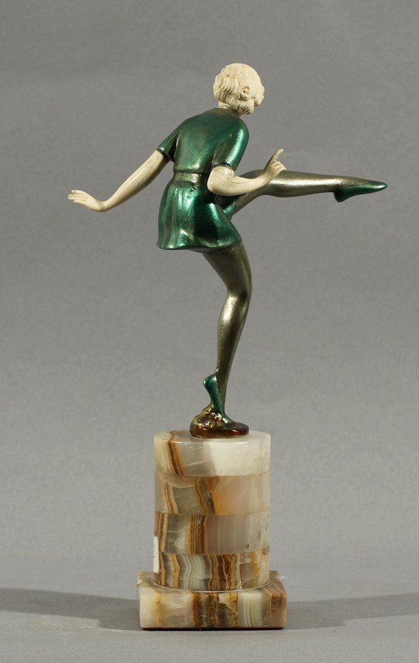 377: JOSEF LORENZL DANCING WOMAN BRONZE IVORY - 2