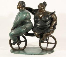 BRUNO LUNA BRONZE LATIN AMERICAN COUPLE ON BICYCLE