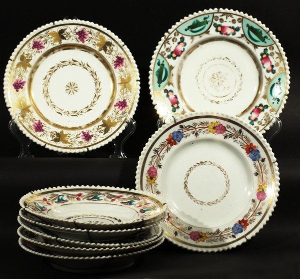 416: 8 ANTIQUE RUSSIAN GARDNER PORCELAIN PLATES 19TH C.
