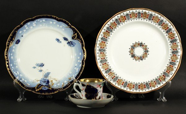 425: RUSSIAN PORCELAIN CUP SAUCER SET AND KUZNETSOV PLA