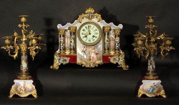 436: CLOCK + CANDLE HOLDERS ANTIQUE FRENCH PORCELAIN BR