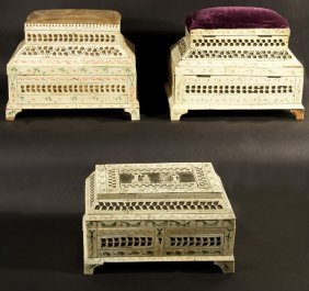 3 RUSSIAN ANTIQUE 18THC IVORY AND BONE VENEERED CA