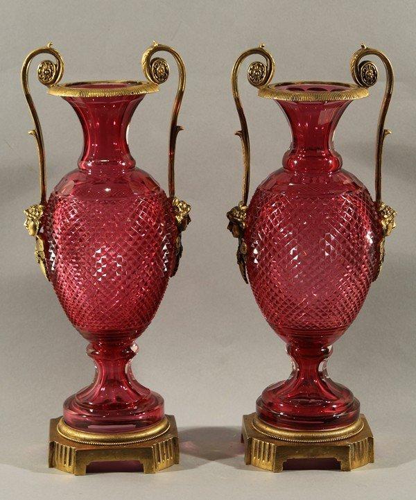 448: PAIR OF ANTIQUE RUSSIAN CUT RUBY GLASS ORMOLU MOUN