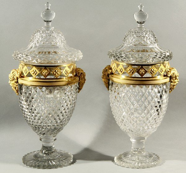 449: PAIR OF ANTIQUE RUSSIAN IMPERIAL CUT CRYSTAL URNS