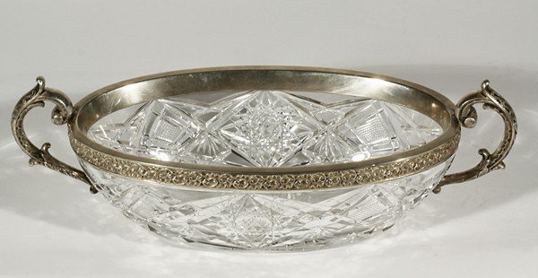 450: 1915 ANTIQUE RUSSIAN SILVER AND CUT GLASS BOWL