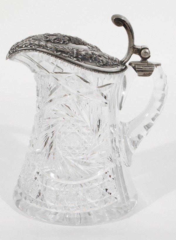 452: ANTIQUE GERMAN SILVER GLASS DECANTER RUSSIAN EXPOR