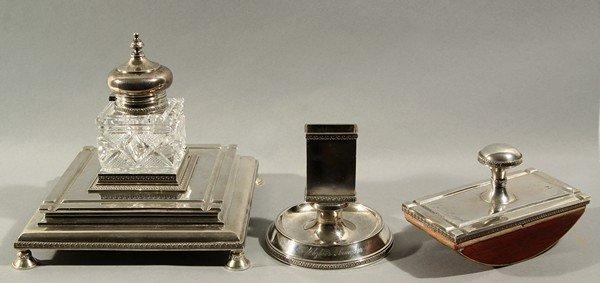 453: 3-PIECE ANTIQUE RUSSIAN SILVER GLASS WRITING SET